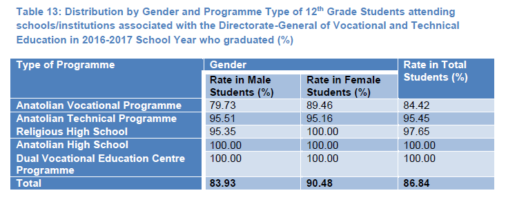Table 13: Distribution by Gender and Programme Type of 12th Grade Students attending schools/institutions associated with the Directorate-General of Vocational and Technical Education in 2016-2017 School Year who graduated (%)