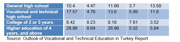 Table 19: Progression of young people to the labour market by their education level, (%)